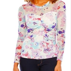 Bold Elements shirt with mesh shoulder and sleeves, purple white blue, Size L